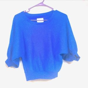 Justice blue glitter puff sleeve top